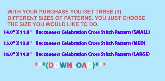 Buccaneers Celabration Cross Stitch Pattern***LOOK***X***INSTANT DOWNLOAD***