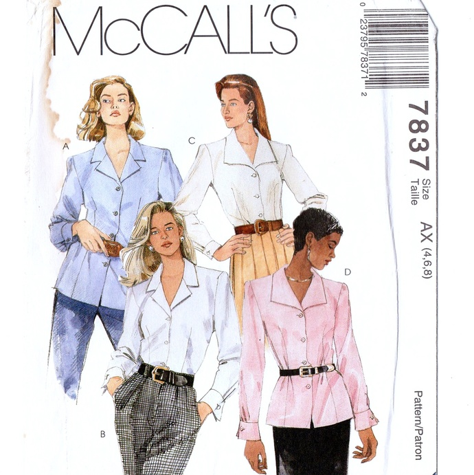 McCall's 7837 Misses Blouse, Shirt 90s Vintage Sewing Pattern Uncut Size 4, 6, 8