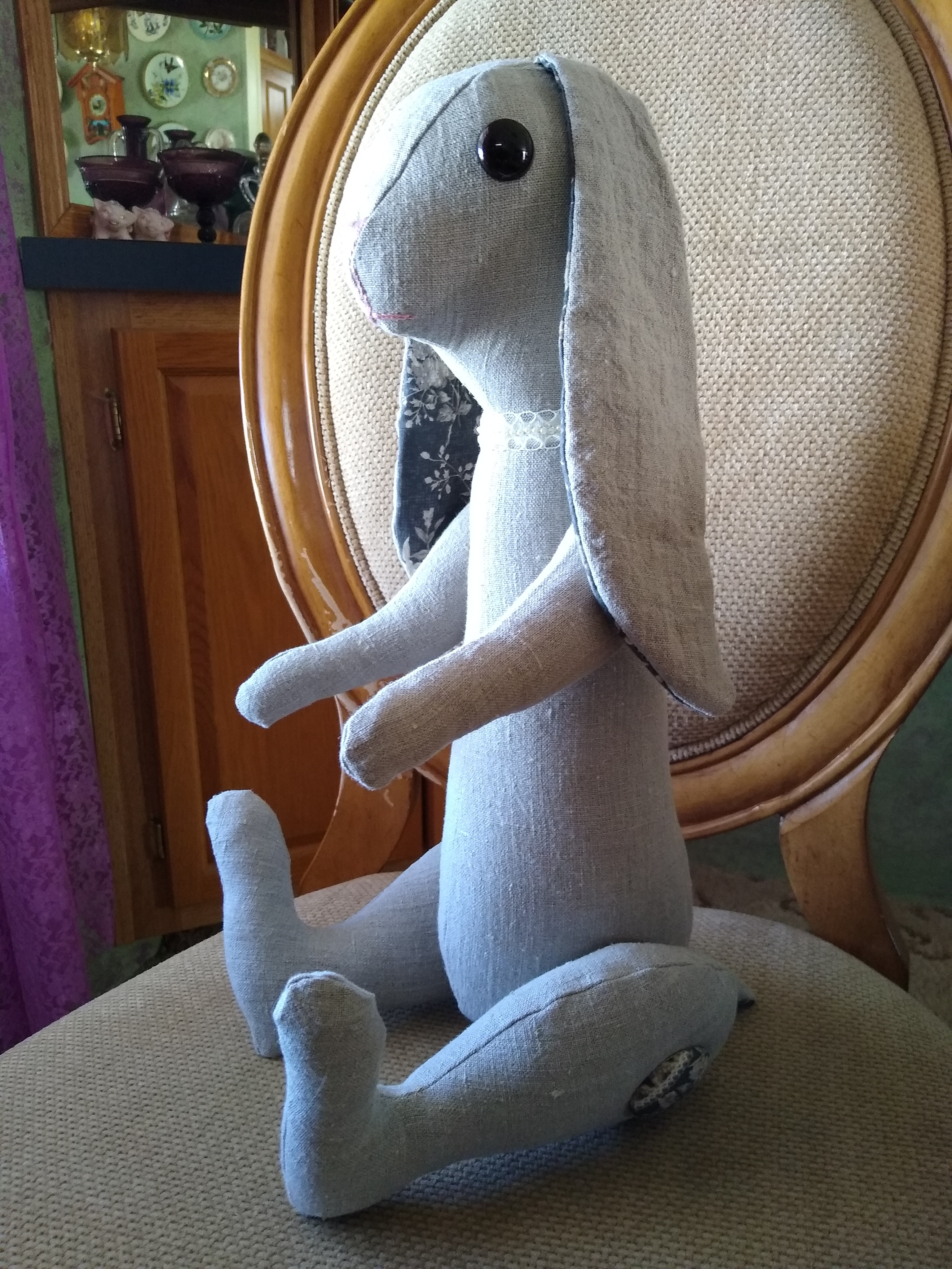 Tall sitting bunny-natural linen
