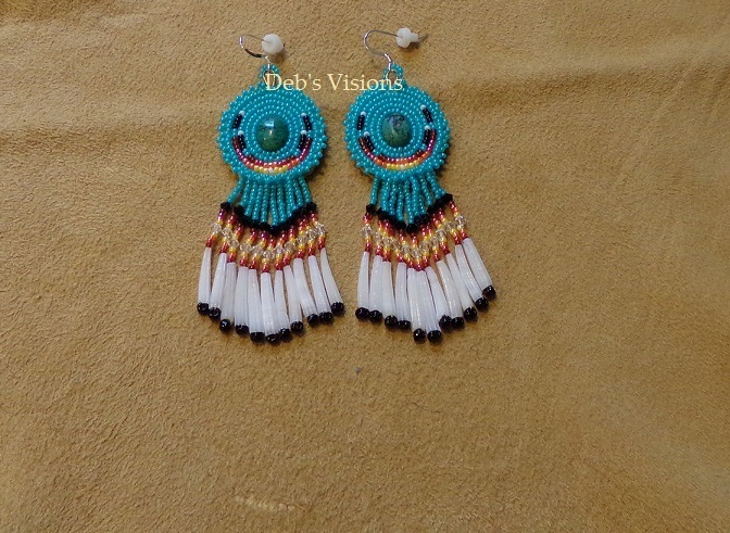 Native American Style Rosette Beaded DebsVisions Signature Earrings with