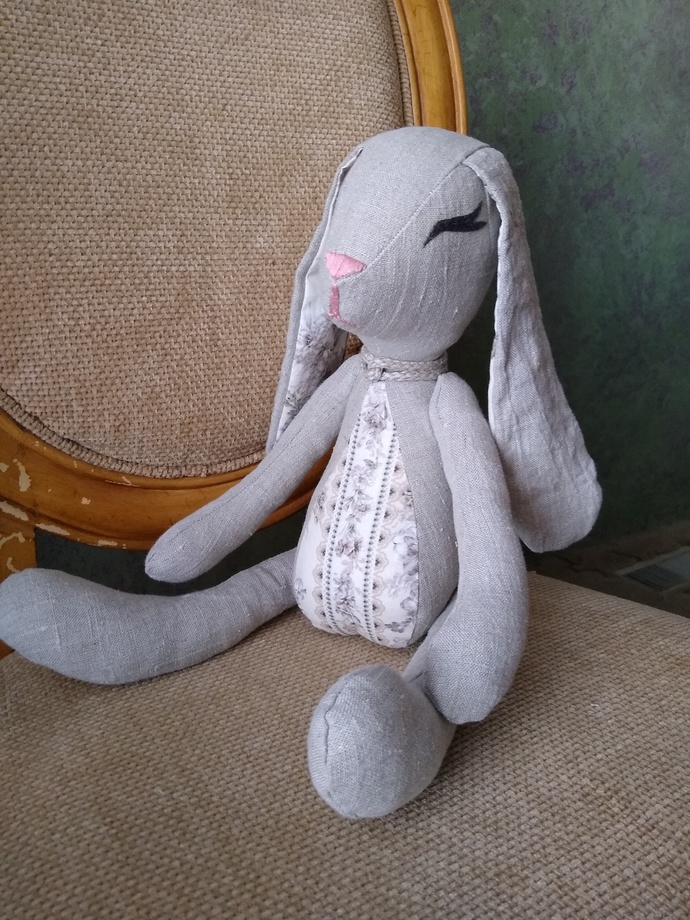 Natural Linen Bunny-with floral fabric