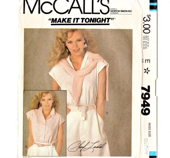 McCall's 7949 Misses Top, Blouse 80s Vintage Sewing Pattern Cheryl Ladd Size Med