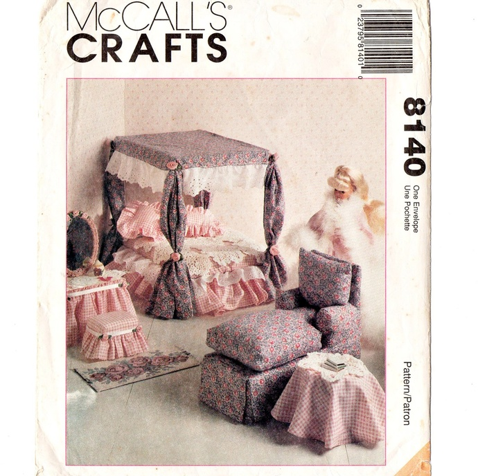 McCall's 8140 Fashion Doll Furniture 90s Vintage Sewing Pattern Uncut Barbie