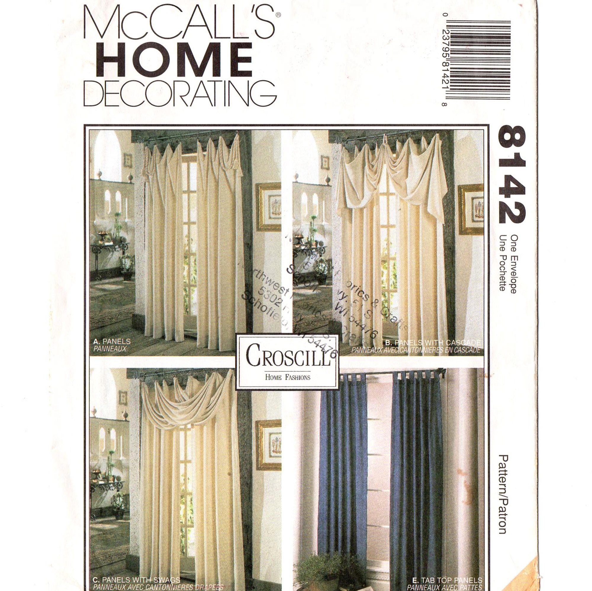 McCall's 8142 Window Curtain Swag Drapes 90s Vintage Sewing Pattern Home
