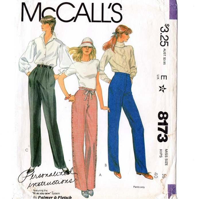 McCall's 8173 Misses Perfect Fit Pants 80s Vintage Pattern Size 16 Waist 30
