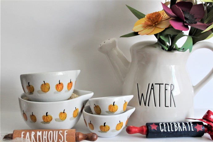 Rae Dunn Inspired PUMPKIN Measuring Cups Set