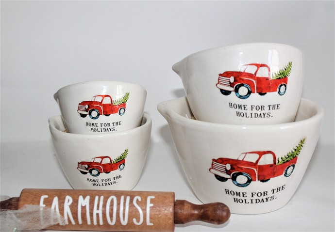 """Rae Dunn Inspired Red Truck-""""Home for the Holidays"""" Decals"""
