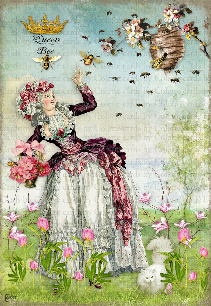 Marie Encounters the Bees in Her Peony Garden Greeting Card3218