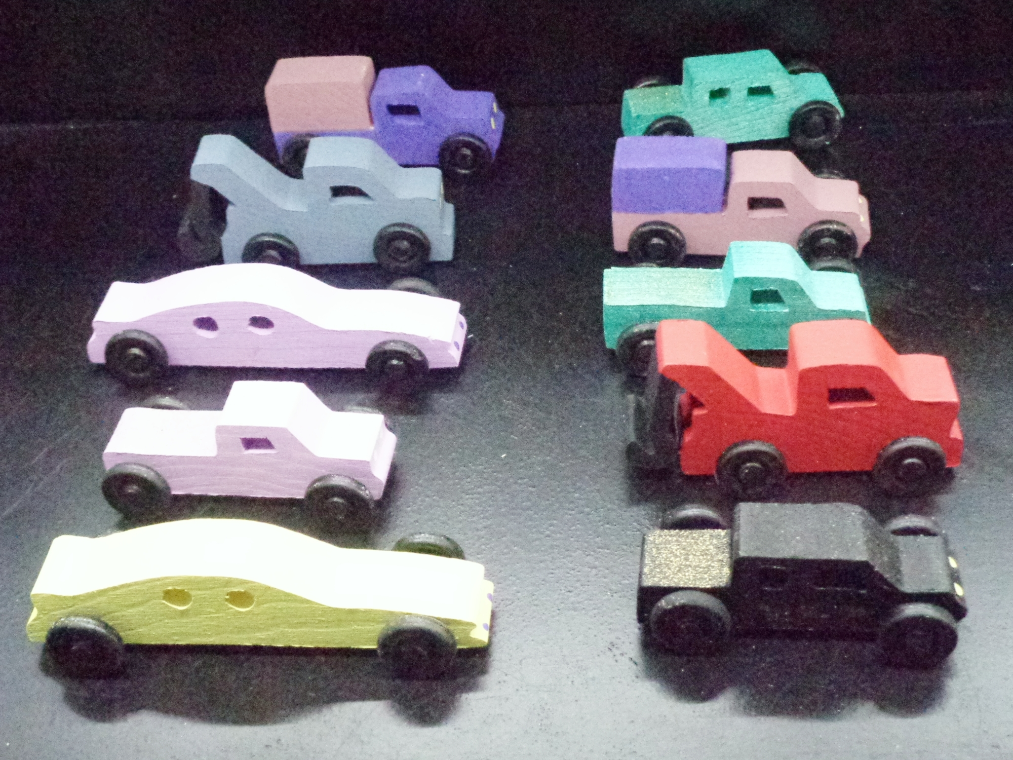 Pkg of 10 Handcrafted Wood Toy  Tow Trucks, Pickups, Cars  OT-25-P   Painted