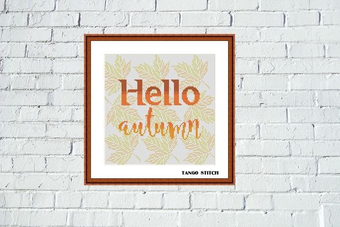 Hello autumn orange leaves ornament cross stitch pattern, Tango Stitch