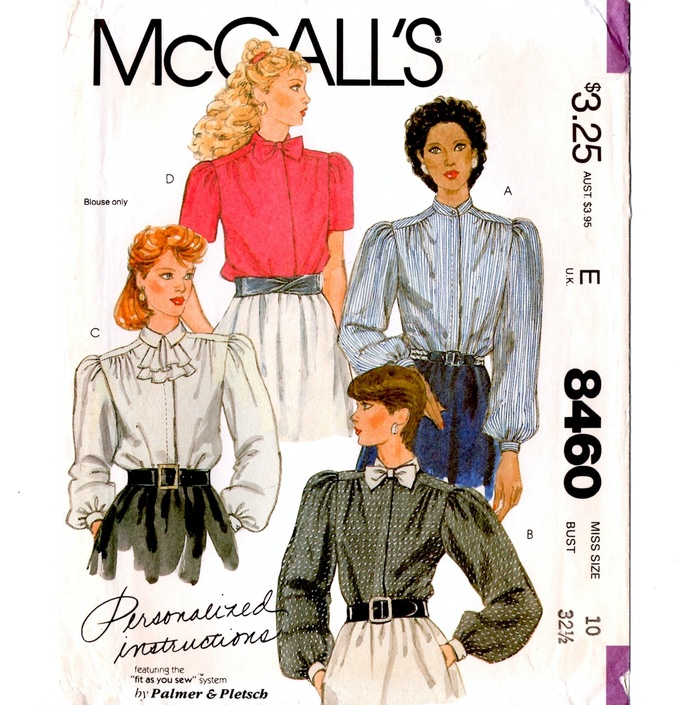 McCall's 8460 Misses Blouse, Tie 80s Vintage Sewing Pattern Size 10 Bust 32 1/2
