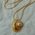 Anne Klein signed gold pearl moon sun pendant necklace NOS