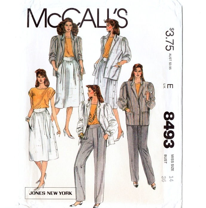 McCall's 8493 Misses Jacket Top Skirt Pants 80s Vintage Sewing Pattern Uncut