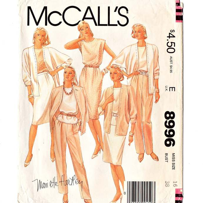 McCall's 8996 Misses Jacket Top Skirt Pants 80s Vintage Sewing Pattern Size 16