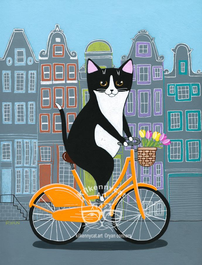 Amsterdam Spring Bicycle Ride Original Whimsical Cat Folk Art Painting