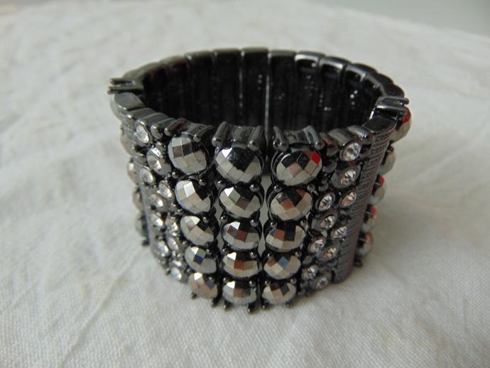 vintage gunmetal faceted hematite clear crystals flex bracelet mint wide