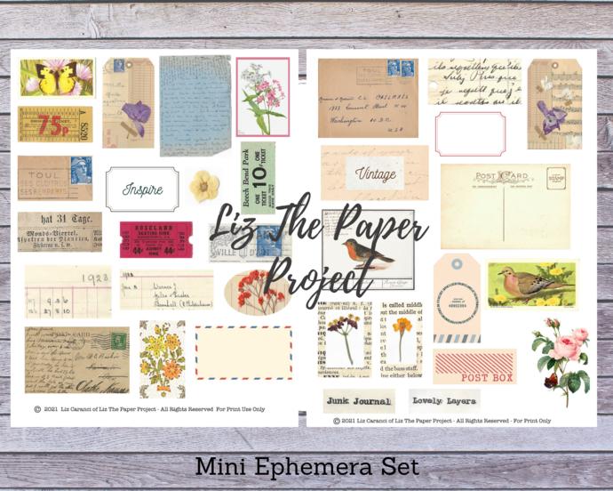 Mini Ephemera Set 1 - Digital Download / Printable Paper