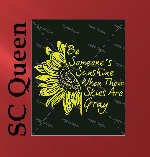 Be Someone's Sunshine (sunflower) SC Queen, Graph + Written line by line color