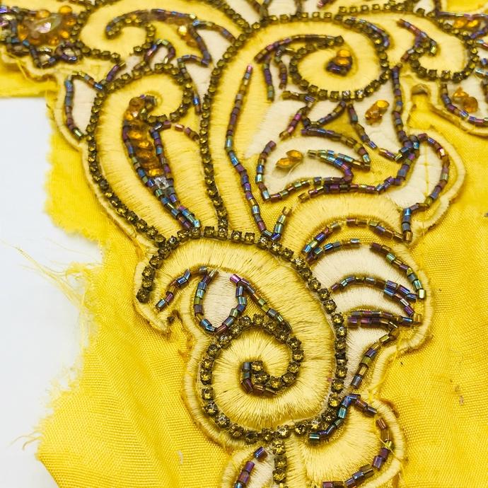 L232 Vintage Beaded Boho MEDIUM - LARGE Piece, Junk Journal Embellishments,