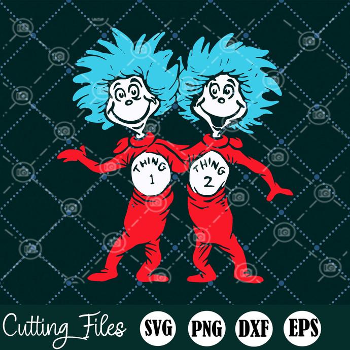 Dr. Seuss Thing 1 Thing 2 SVG, Thing Buddies, Dr Suess SVG, Lorax, St Patrick's