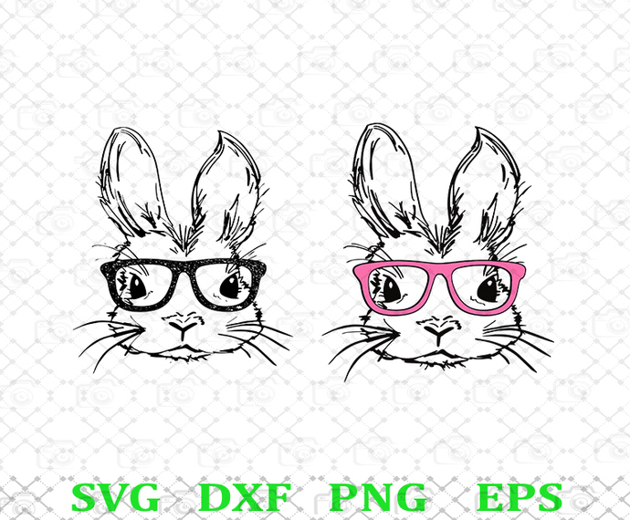 Easter Bunny With Glasses SVG, Cute Bunnies SVG, Pinky Glasses SVG, Kids Easter,