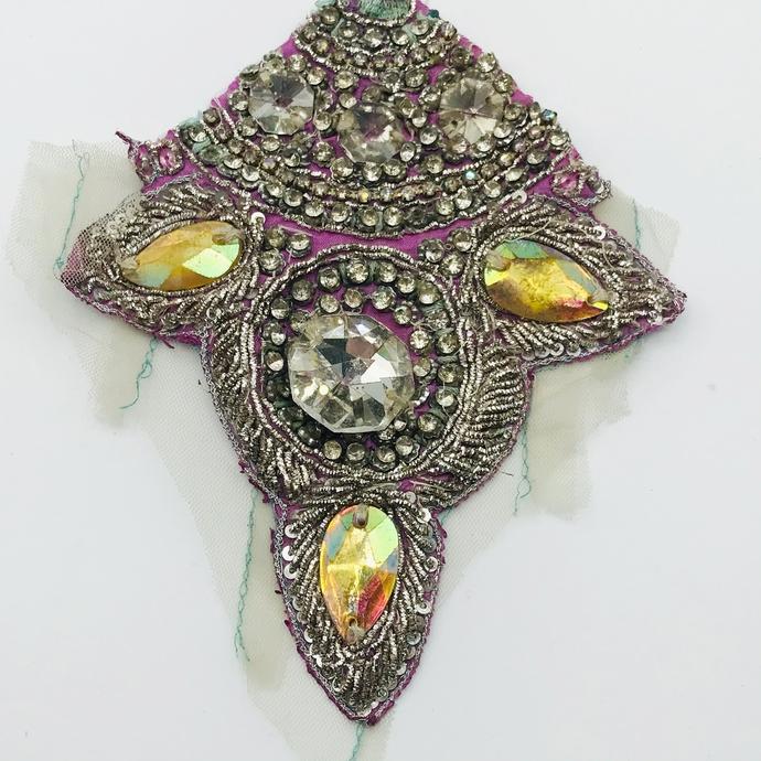 L219 Vintage Beaded Boho MEDIUM - LARGE Piece, Junk Journal Embellishments,