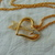 vintage Givenchy signed clear crystal arrow thru gold heart pendant necklace NOS