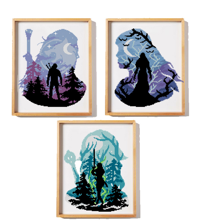 Set of 3 characters cross stitch pattern magic wizard witch cross stitch pattern