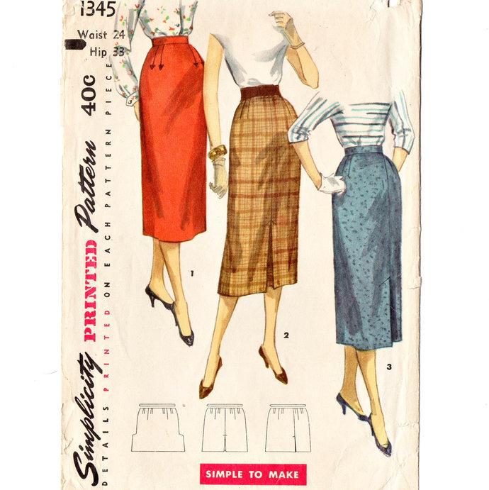 Simplicity 1345 Misses 1 Yard Slim Skirt 50s Vintage Sewing Pattern Waist 24