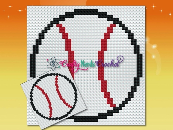 Baseball Pillow Pattern Graph With Mini C2C Written