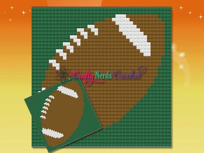 American Football Pillow Pattern Graph With Mini C2C Written