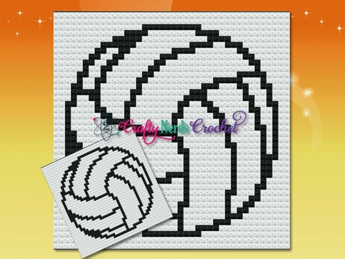 Volleyball Baseball Pillow Pattern Graph With Mini C2C Written