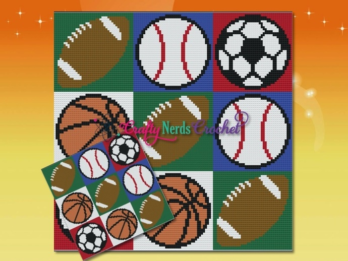 Sports Balls Pattern Graph With Single Crochet Written