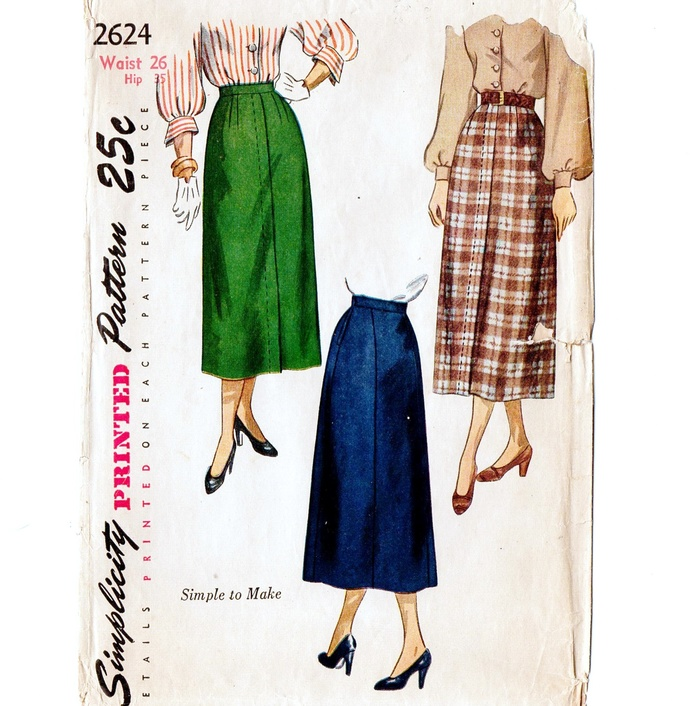 Simplicity 2624 Misses Straight Skirt 40s Vintage Sewing Pattern Waist 26 Fly