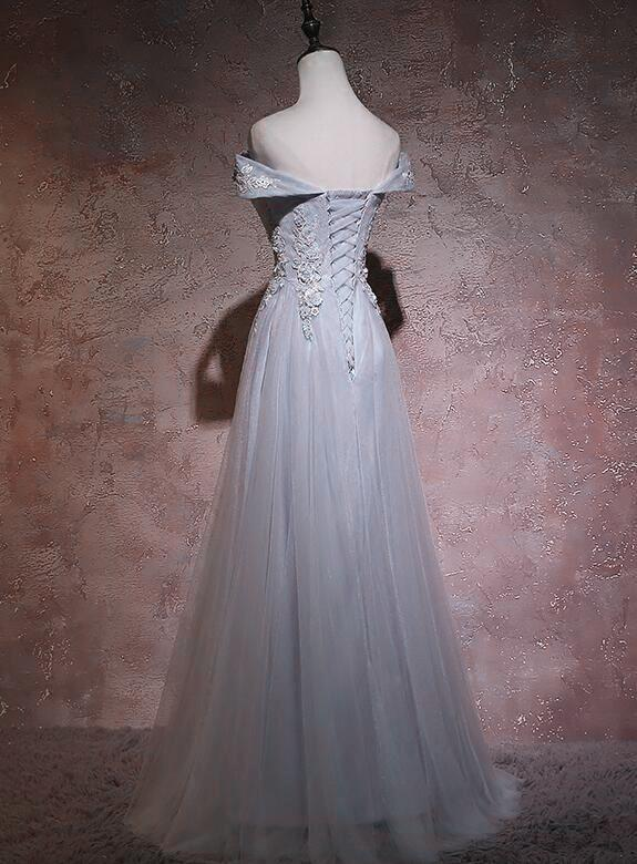 Light Grey Long Simple Floor Length Bridesmaid Dress, Grey Tulle Prom Dres Party