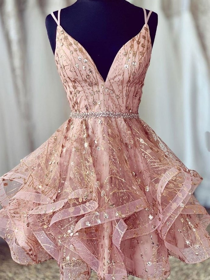 Lovely Pink Lace Prom Dresses with Corset Back, Short Lace Formal Homecoming