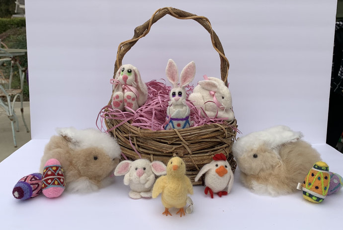 Alpaca Easter Basket: Super Special Felted Alpaca Miniature Figurines Sculptures