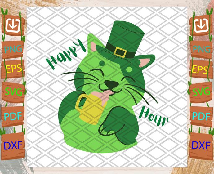 Happy Hour St Patricks Day Cat, Patrick Svg, Cat Svg, Irish Cat Svg, Leprechaun