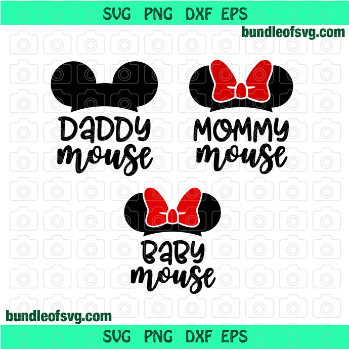 Daddy Mouse svg Mommy Mouse svg Baby Mouse svg Family Mickey Ears Head svg