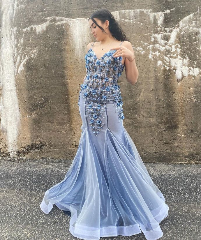 Charming Prom Dress,Memaid Prom Gown,Spaghetti Straps Evening Dress,Appliques