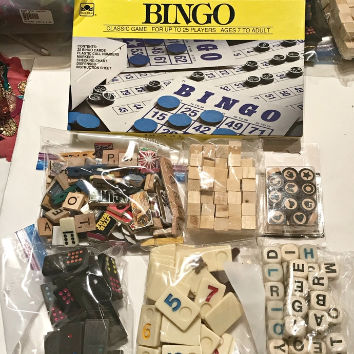 Destash bags of game pieces, embellishments, craft numbers, Bingo game