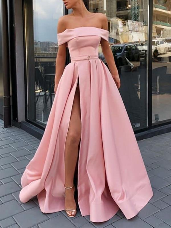 Off Shoulder Pink Satin Long Prom Dresses With High Slit, Pink Evening Dress