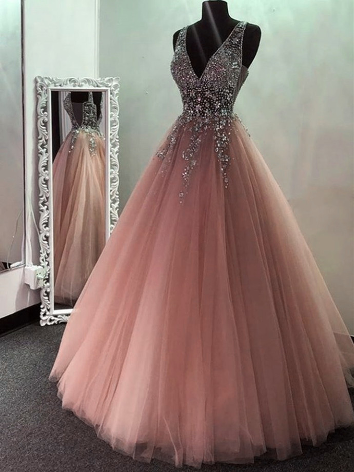 Pink V Neck BeadedTulle Long Prom Dresses, V Neck Formal Evening Dresses, Pink