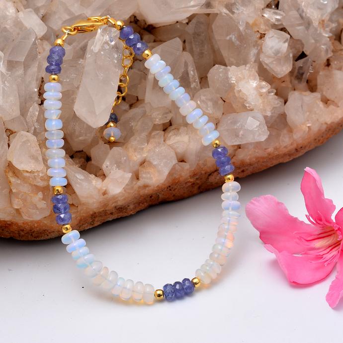 Copy of Ethiopian Opal Bracelet,Tanzanite Beaded Bracelet,Opal Jewelry,Tanzanite
