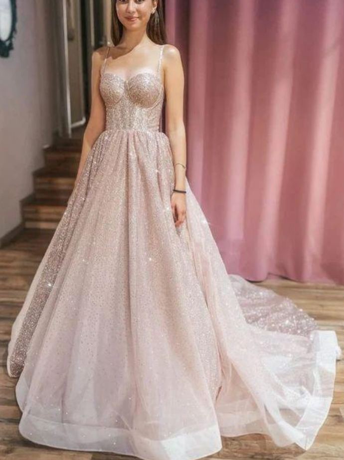 Charming Spaghetti Straps Tulle Long Prom Dress, Evening Dress