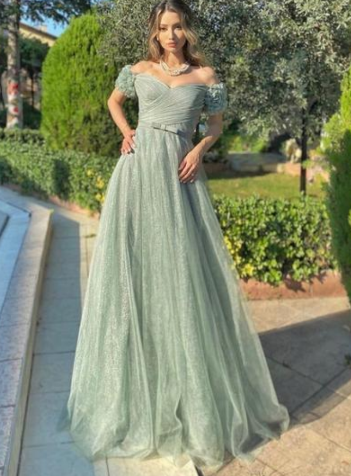 Pretty Off Shoulder Lace Prom Dress, Tulle Evening Dress