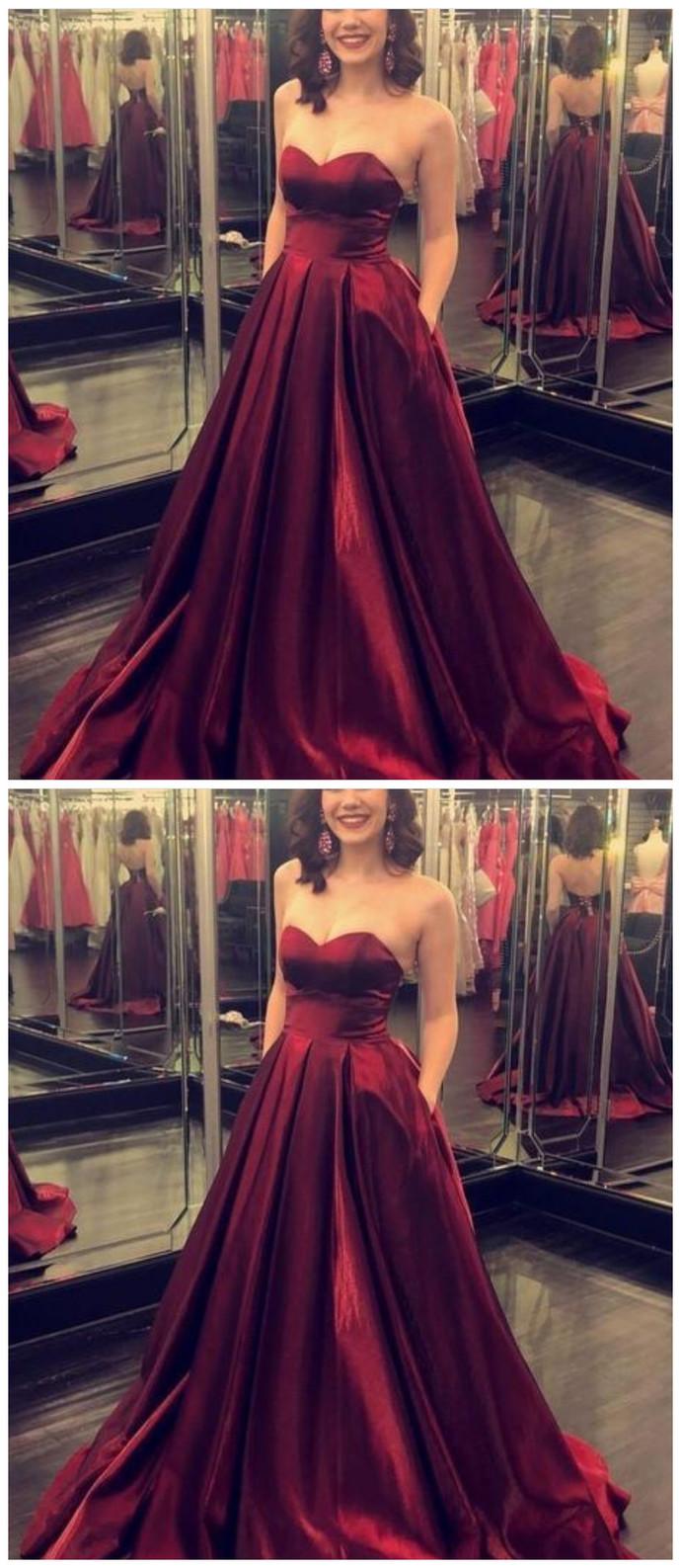 Fashion Burgundy Evening Dress, Long Prom Dresses