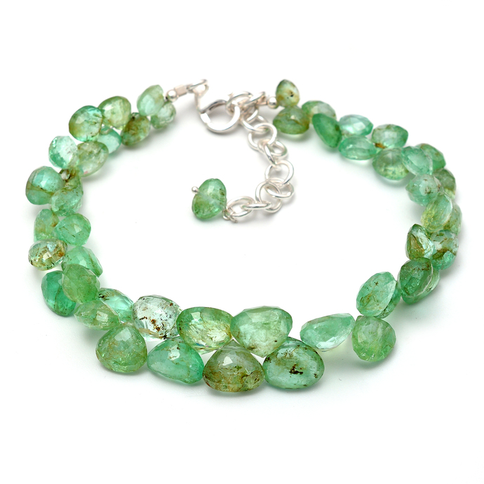 Emerald Beaded Bracelet,Emerald Teardrop Bracelet,Emerald Drop Bracelet,Emerald