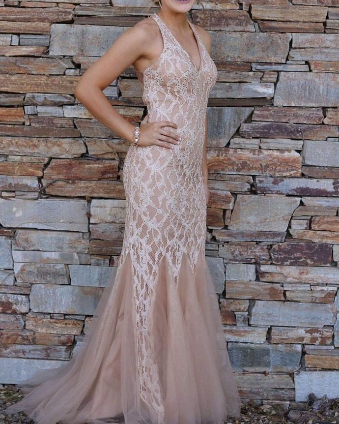Charming Prom Dress,Mermaid Prom Gown,V-Neck Evening Dress,Lace Prom Gown 047