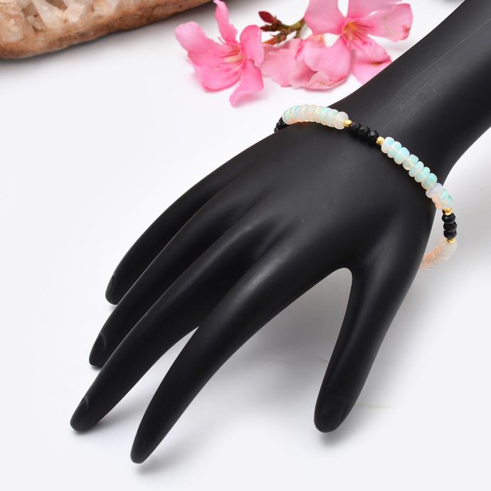 Ethiopian Opal Beaded Bracelet,Ethiopian Opal Bracelet,Opal Bracelet,Black